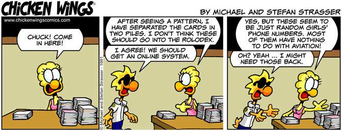 Business card piles