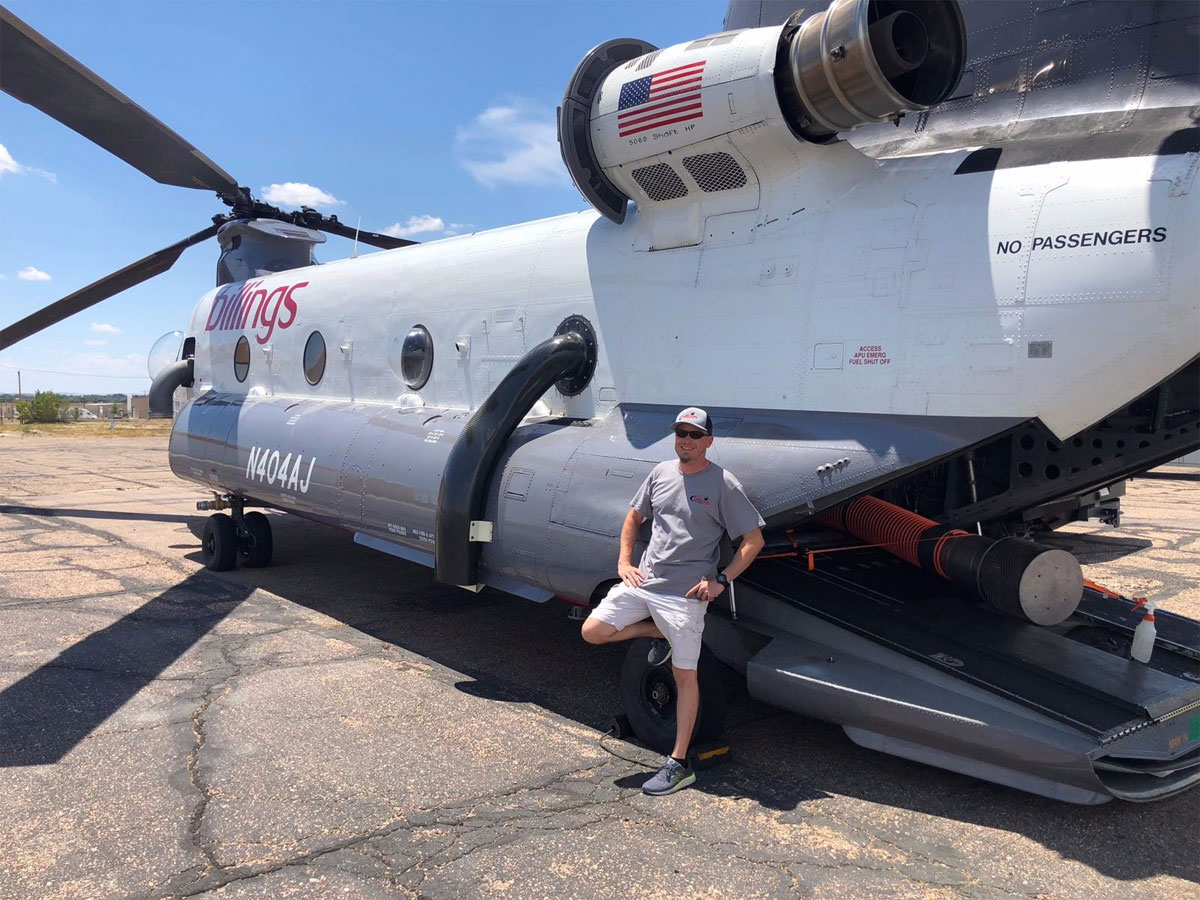 Mike outside of a Boeing Chinook