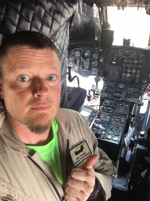 Mike in Chinook cockpit