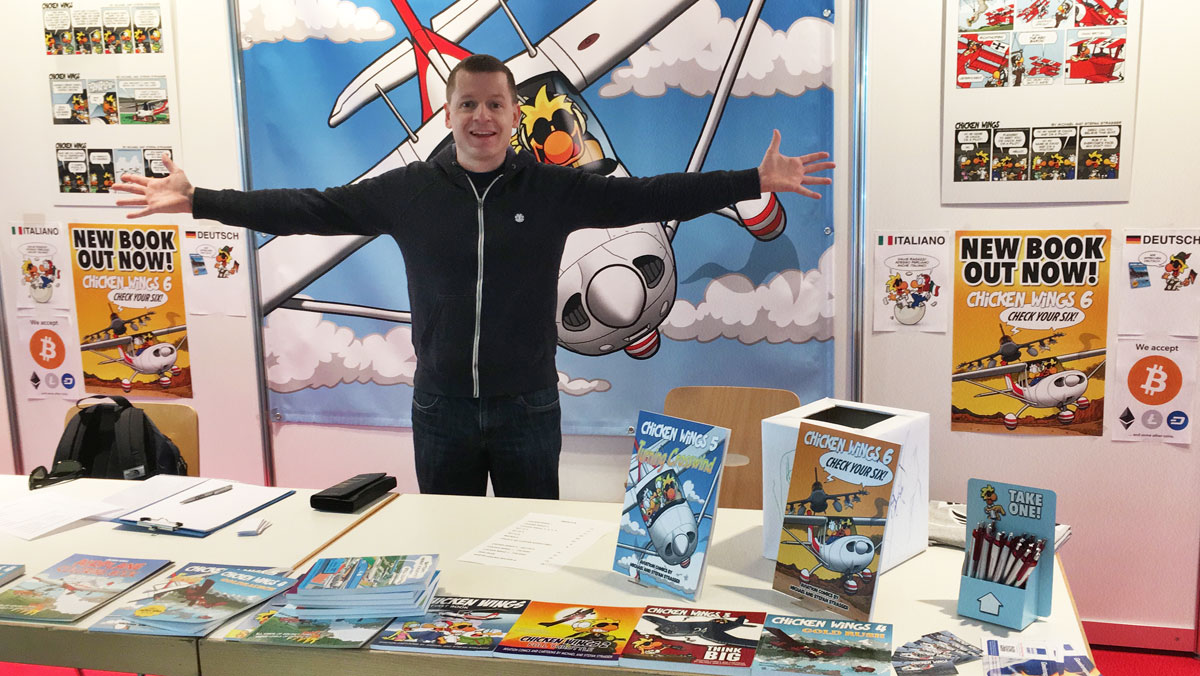Stefan at the Chicken Wings table at AERO 2018