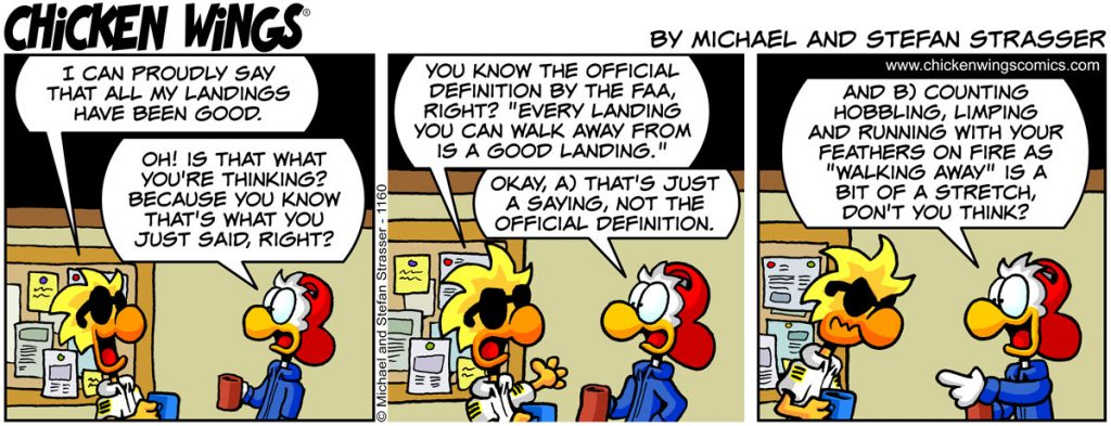 Chicken Wings aviation comic strip no. 1160 - All good landings