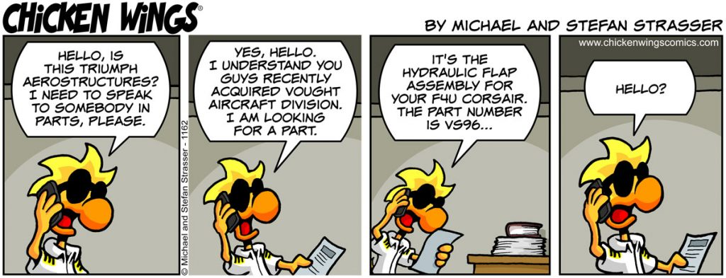 Chicken Wings aviation comic strip no. 1162 - Ordering plane parts