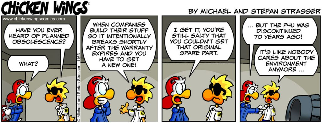 Chicken Wings aviation comic strip no. 1163 - Planned obsolescence