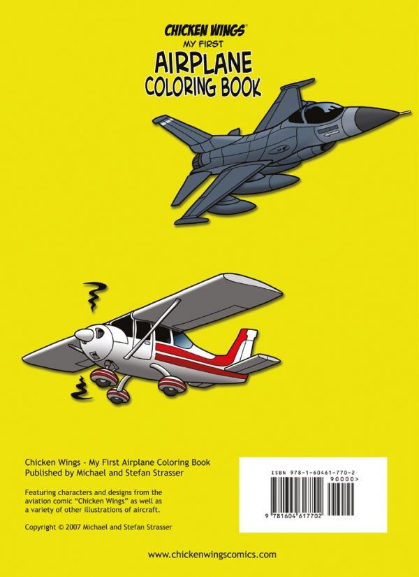 """Chicken Wings """"My First Airplane Coloring Book"""" Backcover"""
