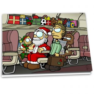 "Christmas Card ""Overhead Bins"" - 10 Pack"