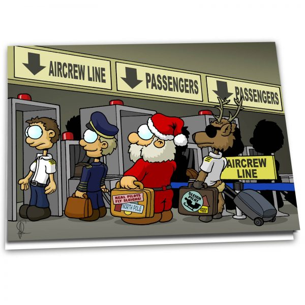 """Christmas Card """"Santa at Security Check"""" - 10 Pack"""