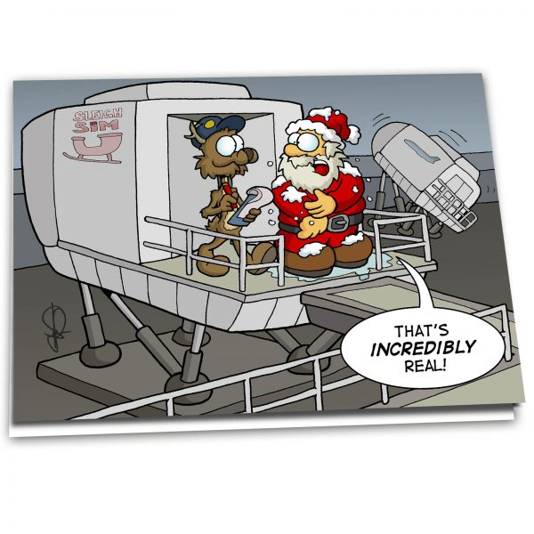 "Christmas Card ""Santa at Sleigh Sim"" - 10 Pack"