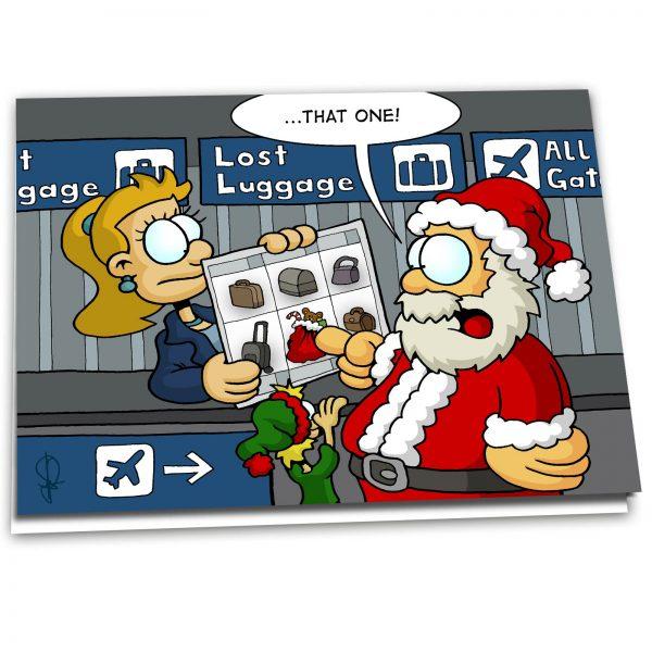 """Christmas Card """"Santa at Lost Luggage"""" - 10 Pack"""