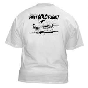 "Chicken Wings T-Shirt ""I survived my first solo flight"" - Back"