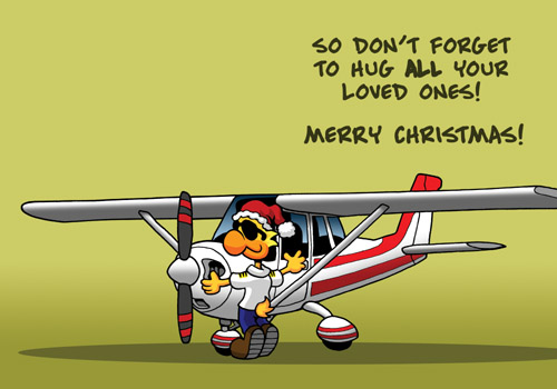 "Chicken Wings Aviation Christmas Card ""Christmas Hugs"" - XMas - Season Greeting Card"