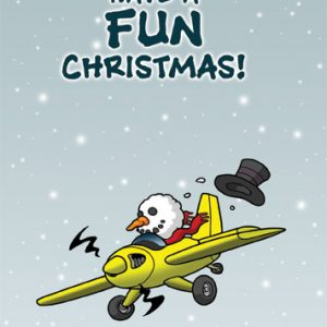 "Chicken Wings Aviation Christmas Card ""Have a Fun Christmas"" - Xmas -Season Greeting Card"