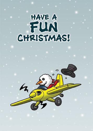 "Chicken Wings Aviation Christmas Card ""Have a Fun Christmas"" - Xmas -Season Greeting Card"