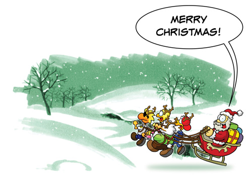 """Chicken Wings Christmas Card """"Last Minute Charter"""" - XMas -Greeting Card"""