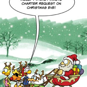 "Chicken Wings Christmas Card ""Last Minute Charter"" - XMas -Greeting Card"